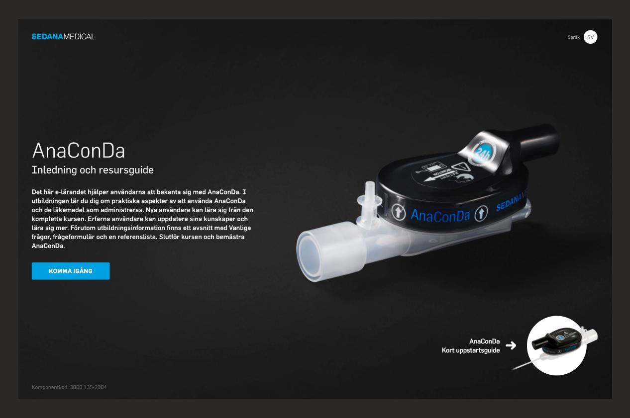 Startsida Sedana Medicals webbutbildning AnaConDa