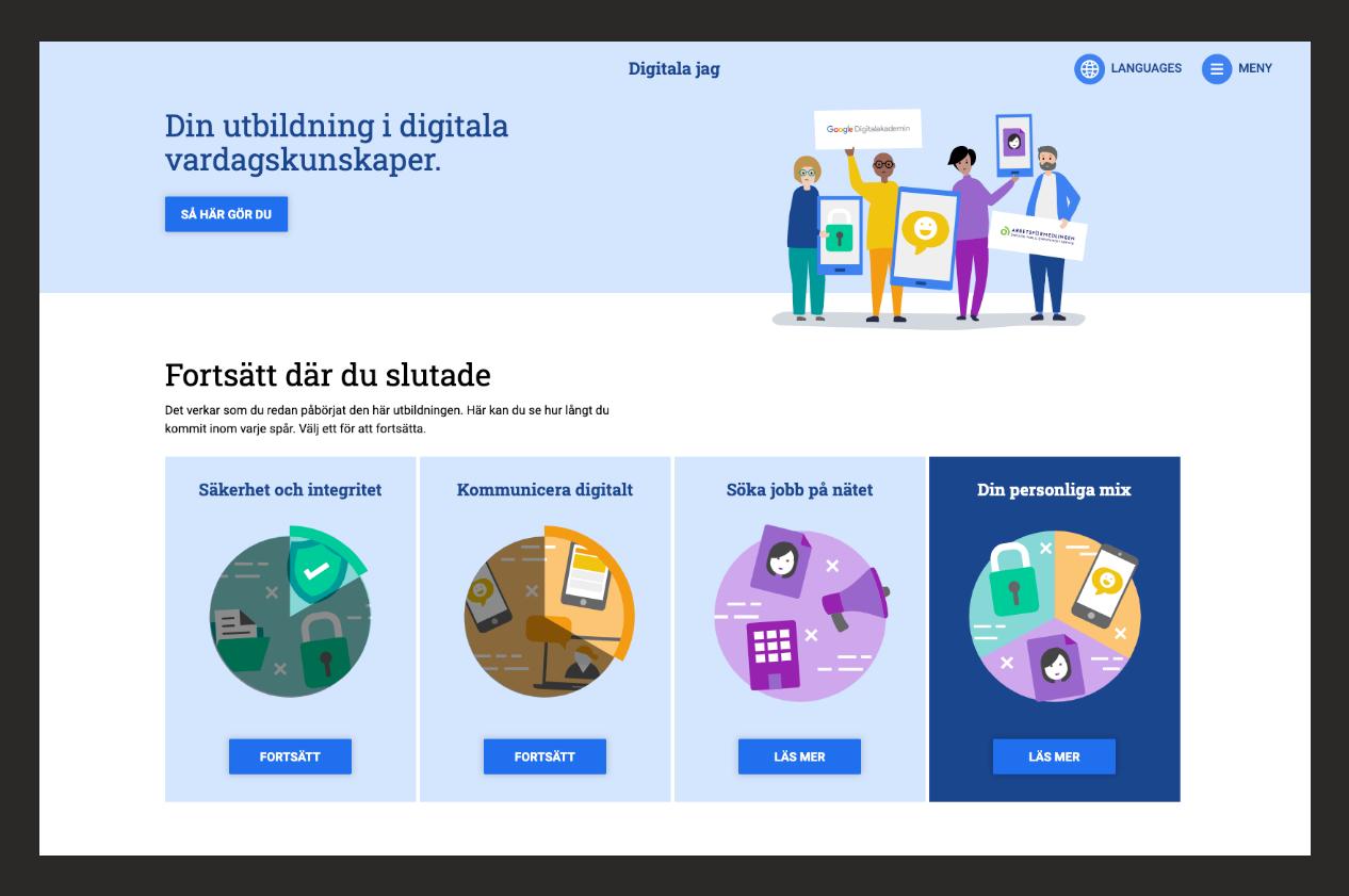 Startsida för webbutbildningen Digitala jag